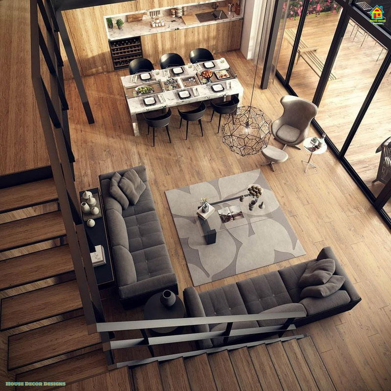 Modern drawing room interior decoration