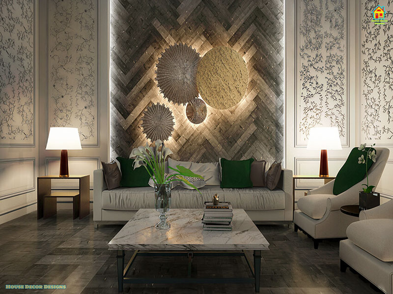 Living room with beautiful wall decor panel