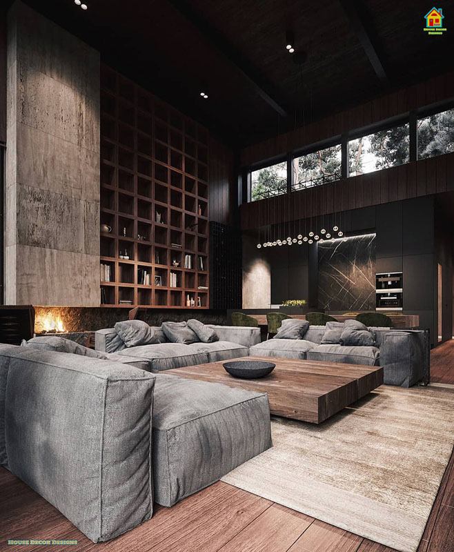 Beautiful dark livingroom designs
